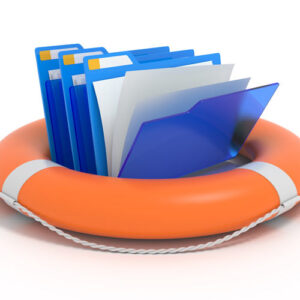 Documents in lifebuoy representing need to back up data